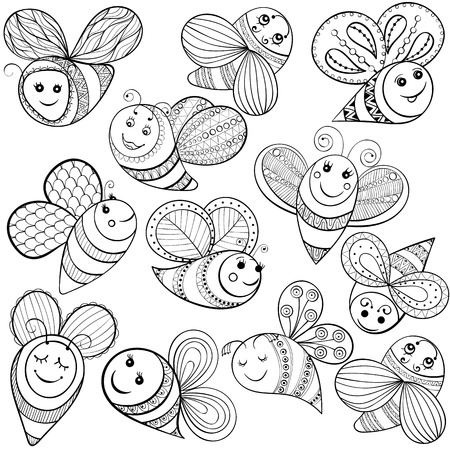 fairy  tail: Vector bees for adult coloring page. Hand drawn funny magic bee for t-shirt print in zentangle, tattoo design. Patterned doodle with fairy tail insects. Happy flying bee.