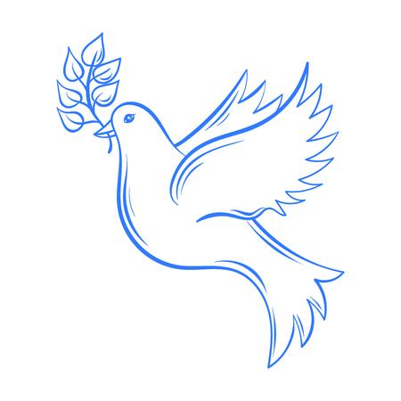 Vector de la paloma. dibujado a mano ilustración de la paloma de la paz, paloma con la rama de olivo. Dibujado a mano vuelo de la paloma artísticamente decorativo. Postal para el día de la paz internacional. Pájaro de la paloma. Ilustración de vector