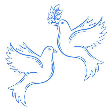 Vector Doves. Hand drawn Dove of Peace illustration and dove with olive branch. Hand drawn artistically decorative flying dove. Postcard for international peace day. Pigeon bird.