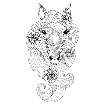 Vector Horse. Coloring page with Horse face. Hand drawn patterned Horse head with flowers in hairs, artistically decorative Horse for adult anti stress colouring books. Zentangle  boho, henna tattoo Illustration