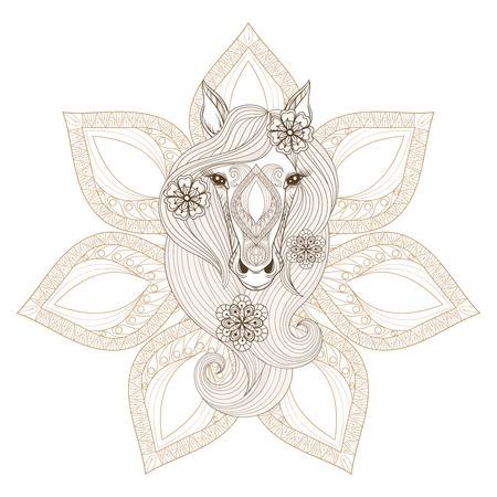 Vector Horse. Pagina da colorare con la faccia cavallo su sfondo mandala. Disegnata a mano fantasia Cavallo con fiori in capelli, artisticamente cavallo decorativo per adulti anti-libri di stress da colorare.