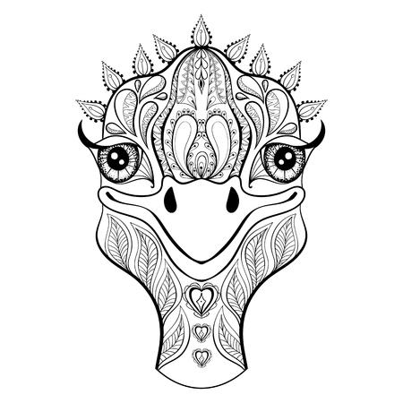 Vector struisvogel voor volwassen kleurplaat. Hand getrokken grappig struisvogel hoofd voor t-shirt print in zentanglestijl, tattoo ontwerpen, sier dier logo. Patroon doodle met glimlachte struisvogel gezicht.