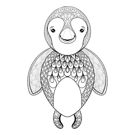 pinguin: Vector pinguin for adult coloring page. Hand drawn funny pinguin kids for t-shirt print in zentangle style, tattoo design, ornamental animal logo. Patterned doodle with smiled happy pinguin. Illustration