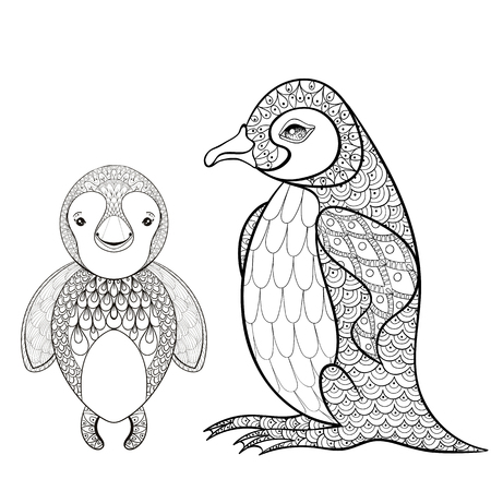 pinguin: Vector pinguin set for adult coloring page. Hand drawn cute pinguin mother with child for t-shirt print in zentangle style, tattoo design, ornamental animal logo. Patterned doodle with smiled happy pinguin.