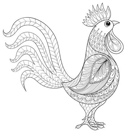 벡터 수탉, 성인 색칠 페이지 zentangle 국내 농부 새, 높은 세부 책이나 문신을 색칠 안티 스트레스 패턴입니다. 인쇄, 티셔츠 벡터 조류 스케치.