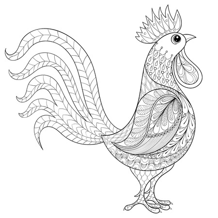 Vector Rooster, zentangle domestic farmer Bird for adult Coloring pages, patterned illustration for anti stress Colouring books or tattoos with high details. Vector bird sketch for print, t-shirt. Illusztráció