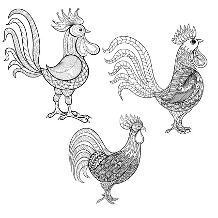 asian adult: Vector set Cocks, Roosters, New Year 2017 symbol, zentangle domestic farmer Birds for adult Coloring pages, patterned illustration for tattoos with high details. Chicken, Cock sketch for print, t-shirt.