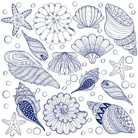 ベクトル セット シェル、成人の抗 zentangle 青い貝殻はストレス、高詳細で入れ墨の模様海シェル イラストの着色のページです。手描きのスケッチ、