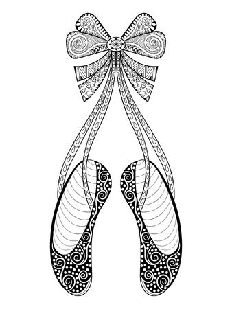 Impreso En Flores Zapatos De Ballet Ilustración De Moda Con Lazo ...