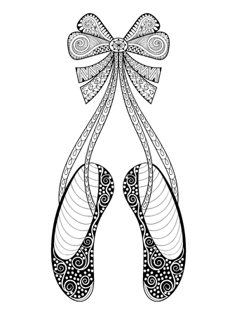 anti stress: Vector zentangle ballet dance shoes symbol, patterned illustration. Hand drawn ornamental pointe shoes with ribbon bow, print for adult anti stress coloring page