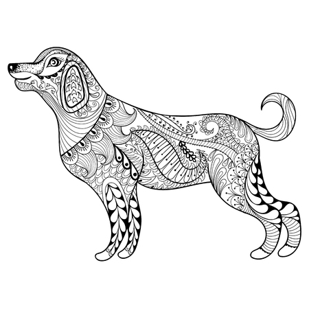 Vector zentangle dog print for adult coloring page. Hand drawn artistically ethnic ornamental patterned illustration. Animal collection.
