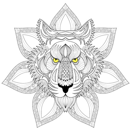 tiger page: Vector Tiger. Zentangle Tiger face on mandala illustration, Tiger head print for adult anti stress coloring page. Hand drawn artistically ornamental patterned decorative animal for tattoo, boho design Illustration