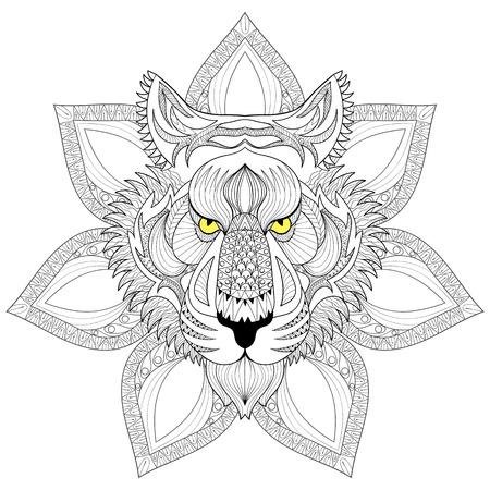 Vector Tiger. Zentangle Tiger visage sur mandala illustration, tête de tigre imprimer pour Coloriage anti-stress adulte. Hand drawn artistiquement ornement à motifs animaux décoratifs pour tatouage, conception de boho