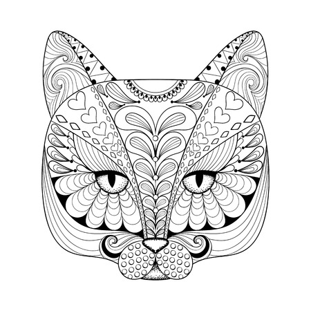Vector zentangle cat print for adult coloring page. Hand drawn artistically ethnic ornamental patterned illustration. Animal collection. Vettoriali