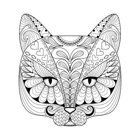 Vector zentangle kat af te drukken voor volwassen kleurplaat. Hand getrokken artistiek etnische sier patroon illustratie. Animal collectie.