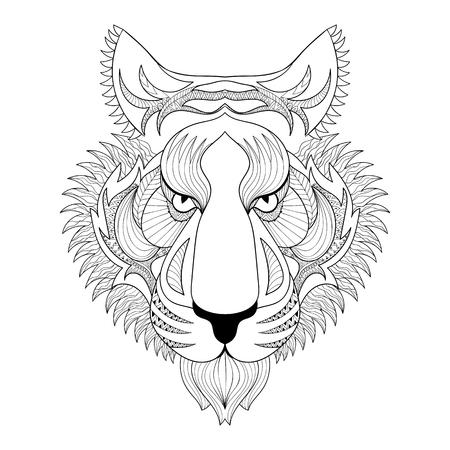 Conjunto Blanco Del Tigre. Zentangle La Cara Del Tigre Ilustración ...