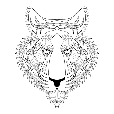 tiger page: Vector Tiger. Zentangle Tiger face illustration, Tiger head print for adult anti stress coloring page. Hand drawn artistically ornamental patterned decorative animal for tattoo, boho design