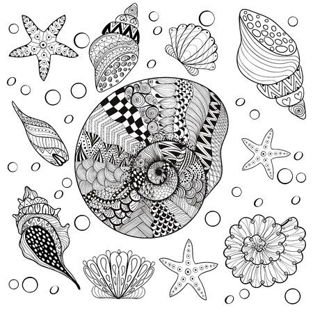 ベクトル セット海の貝、zentangle shelsl 大人抗ストレスぬりえページ、パターン化された海のシェル、高詳細で入れ墨のザルガイの殻の図。手描きのスケッチ、芸術的装飾的なヘナ t シャツの印刷 写真素材 - 56723467