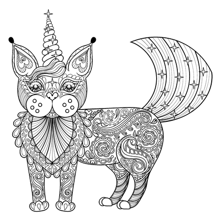 flowers cat: Vector zentangle magic cat unicorn, black print for adult anti stress coloring page. Hand drawn artistically ethnic ornamental patterned illustration. Animal collection.