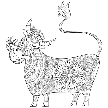 Coloring page with Cow, zenart stylized hand drawing Milker illustration, tribal totem, mascot, doodle animal for art therapy books or tattoo, logo design, postcard. Vector monochrome sketch of Calf.