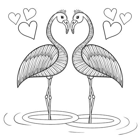Página Para Colorear Con El Flamenco En El Amor, La Mano De Dibujo ...