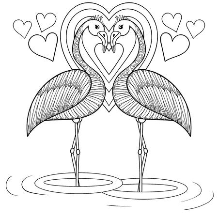 Página Para Colorear Con Pájaros Del Flamenco En El Amor, Zentangle ...