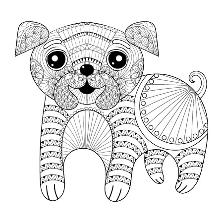 humor: Zentangle Hand drawing Dog for antistress coloring pages, post card, t-shirt print, logo. Child illustration with funny little pug puppy. Doodle sytle, tattoo monochrome design.