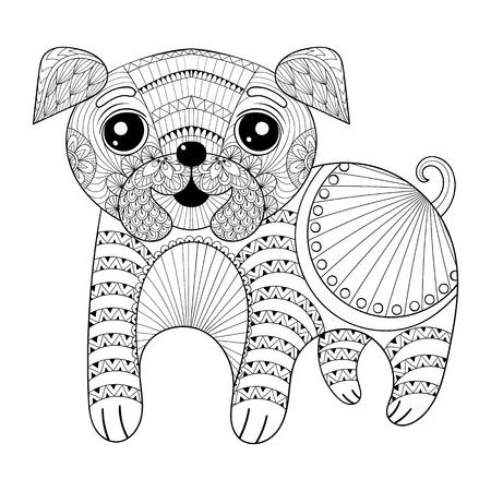 Zentangle Handzeichnung Hund für Anti-Stress-Malvorlagen, Postkarte, T-Shirt mit Aufdruck, Logo. Kind Illustration mit lustigen kleinen Mops Welpen. Doodle sytle, Tätowierung monochrome Design.