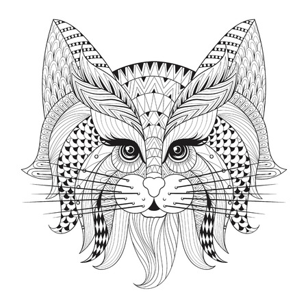 Zentangle Hand drawn Cat face for adult antistress coloring pages, post card, t-shirt print, logo. Cat illustration  in doodle style, tattoo monochrome design.