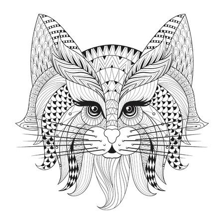Zentangle Hand drawn visage de chat pour les pages antistress adulte à colorier, cartes postales, t-shirt imprimé, logo. Cat illustration dans le style griffonnage, conception de tatouage monochrome. Banque d'images - 56800571