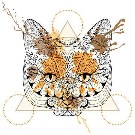 the ink drop: Hand drawn vector Cat head for adult coloring page in zentangle, henna tattoo style. Patterned Cat with watercolor ink drop in triangle frame. Hipster design for t-shirt print.