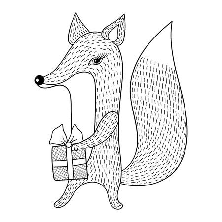 Hand getekende vector Fox met cadeau. Doodle zentangle stijl. Kinder illustratie voor antistress kleurplaten, postkaart, t-shirt print. Grappige dierencollectie.