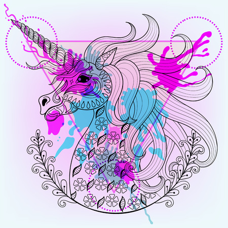 beast: Hand drawn vector magic unicorn for adult coloring page in zentangle, henna tattoo style. Patterned Unicorn with watercolor ink drop in triangle frame. Hipster design for t-shirt print.
