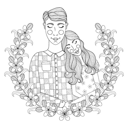 lovely couple: Zentangle Hand drawn lovely Couple for adult antistress coloring pages, post card, t-shirt print, Wedding invitation. Groom and bride illustration with flowers. Doodle sytle, tattoo monochrome design.