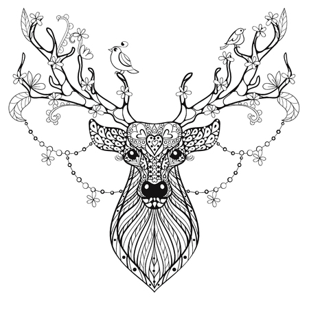 Zentangle Hand drawn magic horned Deer for adult antistress coloring pages, post card, t-shirt print, logo. Deer illustration with birds and flowers. Doodle style, tattoo monochrome design.