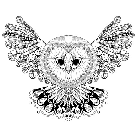 Coloring page with Owl, zentangle hand drawing illustration, tribal totem, mascot, doodle bird for adult Coloring books or tattoos, logo, postcard. Vector monochrome sketch of polar bird.