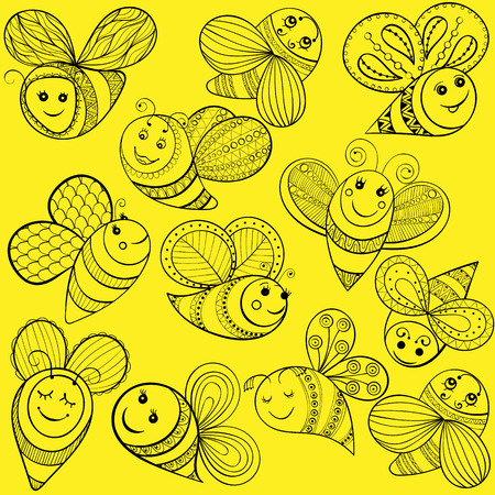fairy  tail: Vector bees for adult coloring page. Hand drawn funny magic yellow bee for t-shirt print in zentangle, tattoo design. Patterned doodle with fairy tail insects. Happy flying bee.