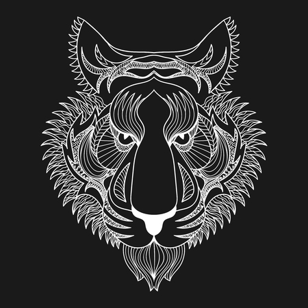 black background abstract: Vector white Tiger. Zentangle Tiger face illustration, Tiger head print for adult anti stress coloring page. Hand drawn artistically ornamental patterned decorative animal for tattoo, boho design