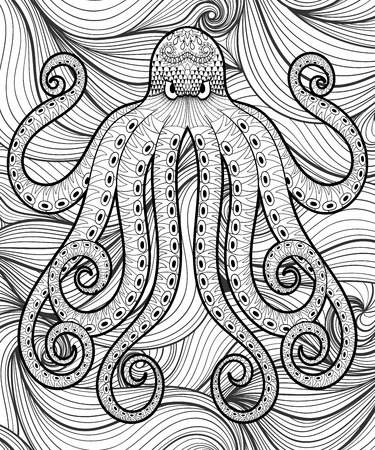 Vector zentangle octopus in sea, print for adult coloring page A4 size. Hand drawn artistically ethnic ornamental patterned illustration. Sea Animal collection. Isolated Sketch for tattoo, posters, t-shirt design. Ilustrace