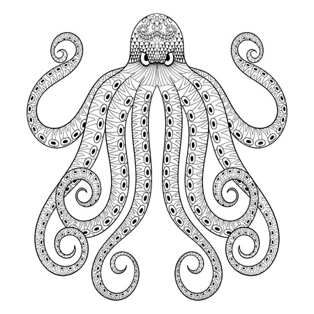 Vector zentangle octopus print for adult coloring page. Hand drawn artistically ethnic ornamental patterned illustration. Sea Animal collection. Isolated Sketch for tattoo, posters, t-shirt design.