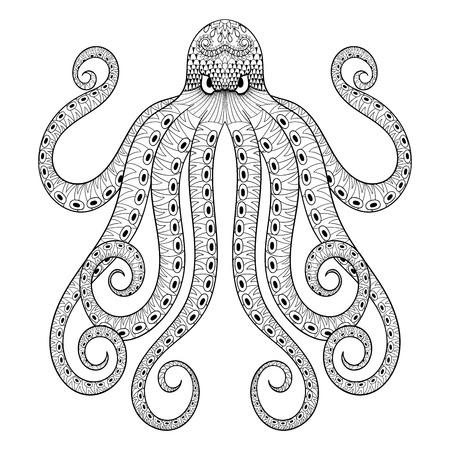 Gegraveerde Octopus Vectorillustratie Hand Getrokken Reuzeoctopus