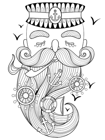 character abstract: Vector zentangle old sailor smoking a pipe, captain, fisherman, sea-dog illustration for adult anti stress coloring page. Hand drawn artistically ornamental patterned portrait, sea collection.