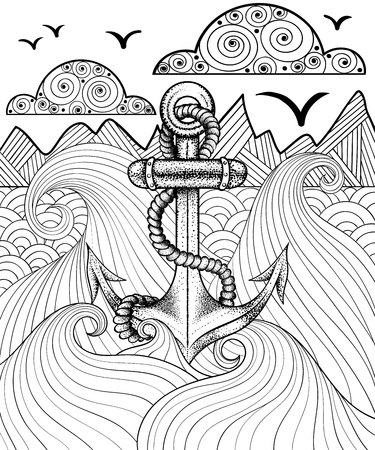 Vector zentangle print for adult coloring page. Hand drawn artistically ethnic ornamental patterned sea anchor. Vettoriali