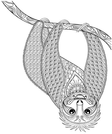 oso perezoso: Vector zentangle pereza para imprimir la página para colorear para adultos. Dibujado a mano ilustración artísticamente étnica con dibujos ornamentales. Colección animal. Bosquejo aislado para el diseño del tatuaje, pósters, camiseta.