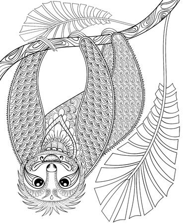Vector zentangle de tres dedos perezoso de escalada en una rama, para imprimir la página para colorear tamaño A4 adulto. Dibujado a mano ilustración artísticamente étnica con dibujos ornamentales. recogida de animales para el diseño del tatuaje, camiseta. Ilustración de vector