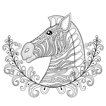zebra head: Zebra in Floral frame. Vector zentangle Zebra Head illustration, Horse print for adult anti stress coloring page. Hand drawn artistically ornamental patterned decorative animal for tattoo design Illustration