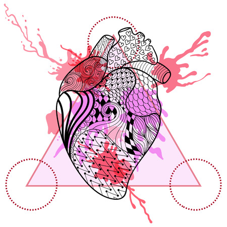 medical drawing: Zentangle stylized Human heart in triangle frame with watercolor ink drop. Hand Drawn doodle vector heart illustration. Sketch for tattoo or makhenda. Hipster artistically patterned print.