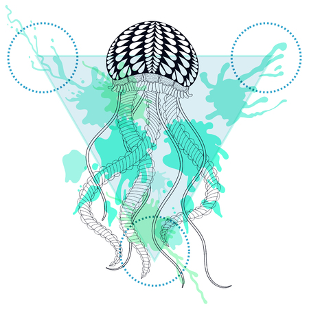 artistically: Zentangle stylized Jellyfish in triangle frame with watercolor ink drop. Hand Drawn doodle vector sea Jelly illustration. Sketch for tattoo or makhenda. Hipster artistically patterned animal print.
