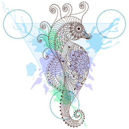 animal print: Zentangle estilizado del caballo de mar en el marco de triángulo con gotas de tinta acuarela. Dibujado mano del doodle ilustración vectorial caballito de mar. Boceto para el tatuaje o makhenda. Hipster modelado artísticamente animal print.