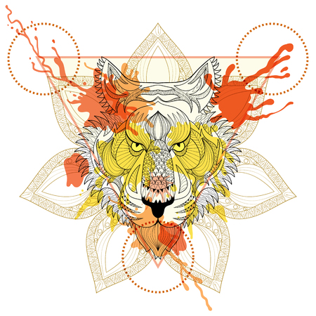 predators: Zentangle stylized Tiger in triangle frame with watercolor ink drop. Hand Drawn doodle vector tiger face illustration. Sketch for tattoo or makhenda. Hipster artistically patterned animal print.